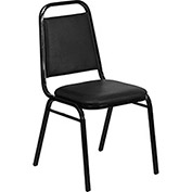 Banquet Trapezoidal Back Stacking Chair, Vinyl, Black - Pkg Qty 4