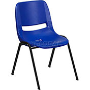 Ergonomic Shell Stack Chair, Blue, Plastic - Pkg Qty 4