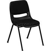 Ergonomic Shell Stack Chair W/Padded Seat & Back, Black, Plastic - Pkg Qty 4