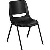 Ergonomic Shell Stack Chair, Black, Plastic - Pkg Qty 4