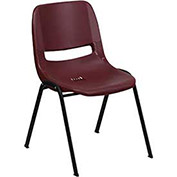 Ergonomic Shell Stack Chair, Burgundy, Plastic - Pkg Qty 4