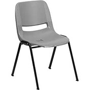Ergonomic Shell Stack Chair, Gray, Plastic - Pkg Qty 4