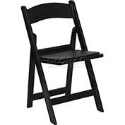 Resin Folding Chair W/Black Vinyl Padded Seat, Black Resin Frame - Pkg Qty 4