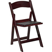 Resin Folding Chair W/Black Vinyl Padded Seat, Mahogany Resin Frame - Pkg Qty 4