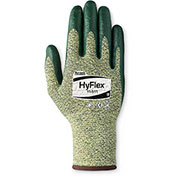 Ansell HyFlex® Cut Resistant Gloves, Green Nitrile Palm Coat, Size 7, 1 Pair