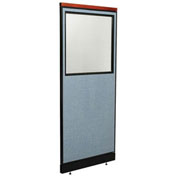 "24-1/4""W x 77-1/2""H Deluxe Office Partition Panel with Partial Window & Pass-Thru Cable, Blue"