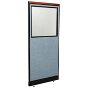 "24-1/4""W x 65-1/2""H Deluxe Office Partition Panel with Partial Window & Raceway, Blue"