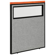"""36-1/4""""W x 43-1/2""""H Deluxe Office Partition Panel with Partial Window, Gray"""