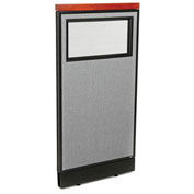 "24-1/4""W x 47-1/2""H Deluxe Office Partition Panel with Partial Window & Pass-Thru Cable, Gray"