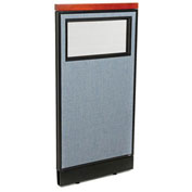 "24-1/4""W x 47-1/2""H Deluxe Office Partition Panel with Partial Window & Pass-Thru Cable, Blue"