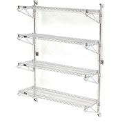 "Nexel Wall Mount Wire 4-Shelf Starter Unit, 24""W x 24""D x 63""H"