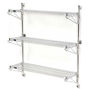 "Nexel Wall Mount Wire 3-Shelf Starter Unit, 60""W x 18""D x 54""H"