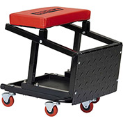 Creeper Seat/Stool Combo, 300 lb. Cap. , Black/Red