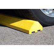 "Plastics-R-Unique 4672PBY Yellow Standard Parking Block with Cable Protection & Hardware - 72"" Long"
