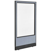 "36-1/4""W x 64""H Electric Office Partition Panel with Full Window, Blue"