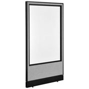 "36-1/4""W x 64""H Non-Electric Office Partition Panel with Full Window & Raceway, Gray"