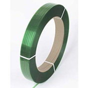 "Pac Strapping Polyester Strapping, 1/2"" x 0.025"" x 2900', Green, 16"" x 3"" Core - Pkg Qty 2"