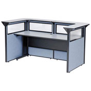 "88"" W x 44""D x 44""H U-Shaped Reception Station with Window, Gray counter/Blue Panel"