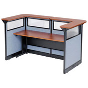 """88""""W x 44""""D x 46""""H U-Shaped Reception Station with Window and Raceway, Cherry Counter/Blue Panel"""