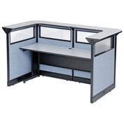 "88""W x 44""D x 46""H U-Shaped Reception Station with Window and Raceway, Gray Counter/Blue Panel"