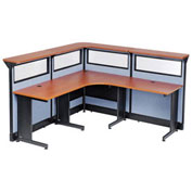 """80""""W x 80""""D x 46""""H L-Shaped Reception Station with Window and Raceway, Cherry Counter/Blue Panel"""
