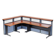 "116""W x 80""D x 44""H L-Shaped Reception Station with Window, Cherry Counter/Blue Panel"