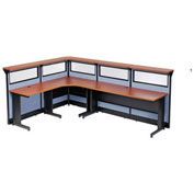 """116""""W x 80""""D x 46""""H L-Shaped Reception Station with Window and Raceway, Cherry Counter/Blue Panel"""