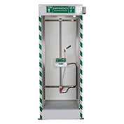 Hughes STD-SD-32K Emergency Cubicle Shower w Single Overhead Spray & Integral Drain