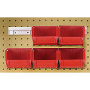 "Hang & Stack Bins w/Two 12"" Rails, Six Bins 4-1/8""W x 5-3/8""D x 3""H, Red"