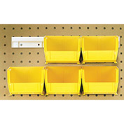 "Hang & Stack Bins w/Two 12"" Rails, Six Bins 4-1/8""W x 5-3/8""D x 3""H, Yellow"
