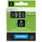 "DYMO® D1 3/4"" Tape White on Black"