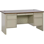 "Heavy Duty Teachers Desk, Putty/Medium Oak, 60""Wx30""D"