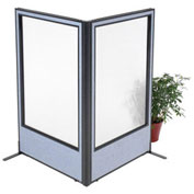 "36-1/4""W x 60""H Freestanding 2-Panel Corner Room Divider with Full Window, Blue"