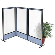 "36-1/4""W x 72""H Freestanding 3-Panel Corner Room Divider with Full Window, Blue"