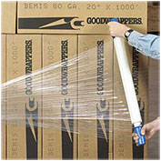 """Goodwrappers Stretch Wrap, 20"""" x 1000' x 80 Gauge with Dispenser, Clear"""