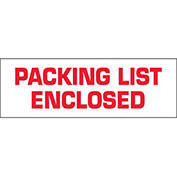 "2""x110 Yds Printed Carton Sealing Tape ""Packing List Enclosed"", White/Red, 36/PACK - Pkg Qty 36"