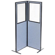 "24-1/4""W x 72""H Freestanding 2-Panel Corner Room Divider with Partial Window, Blue"