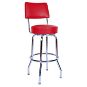 "30"" Swivel Bar Stool with Back, Chrome Frame, Red Seat"
