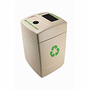 Commercial Zone 55 Gallon Recycling Plastic Trash Container with Bottles & Cans/Trash Top, Beige