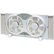 "Comfort Zone® CZ310R Reversible Twin Window Fan 9"" with Remote Control"