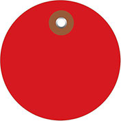 "3"" Diameter Plastic Circle Tags, Red, 100 Pack"