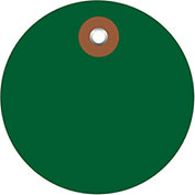 "3"" Diameter Plastic Circle Tags, Green, 100 Pack"