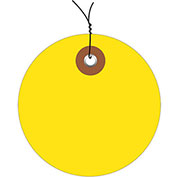 "2"" Diameter Pre-Wired Plastic Circle Tags, Yellow, 100 Pack"