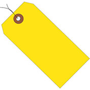 "6-1/4""x3-1/8"" Plastic Shipping Tag Pre-Wired, Yellow, 100 Pack"