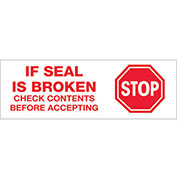 "2""x55 Yds Printed Carton Sealing Tape ""Stop If Seal Is Broken..."", Red/White, 6/PACK - Pkg Qty 6"