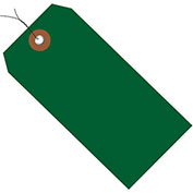 "4-3/4""x2-3/8"" Plastic Shipping Tag Pre-Wired, Green, 100 Pack"