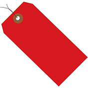 "4-3/4""x2-3/8"" Plastic Shipping Tag Pre-Wired, Red, 100 Pack"