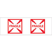 "2""x55 Yds Printed Carton Sealing Tape ""Fragile (Box)"", Red/White, 6/PACK - Pkg Qty 6"