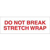 """2""""x110 Yds Printed Carton Sealing Tape """"Do Not Break Stretch Wrap"""", Red/White, 18/PACK - Pkg Qty 18"""