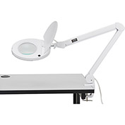 LED Magnifying Lamp With Covered Metal Arm, 8 Diopter, White